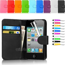 Flip Wallet Card Leather Case Cover For Apple iPhone 4 4S Free Screen Protector