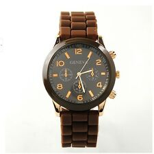 NEW Unisex Geneva Silicone Jelly Gel Quartz Analog Sports Wrist Watch coffee