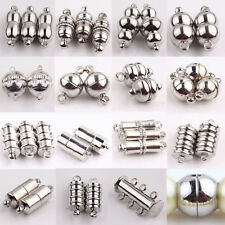 10Pcs Silver Plated Jewelry Findings Rectangle Round Strong Magnetic Clasps Hook