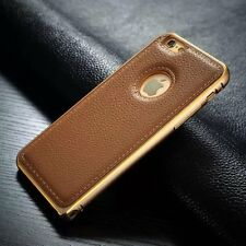 Luxury Genuine Leather Back Case Aluminum Bumper Cover For iPhone 5 5S 6 Plus