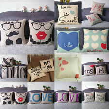 Lovers Throw Home Decor Pillow Case Cotton Linen Cushion Cover Valentines S61