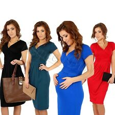 Summer Pregnant Womens Maternity Short Sleeve V-neck Casual Cocktail Midi Dress