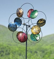 Plow & Hearth Wind Sculptures Oversized Colorful Carnival Metal Wind Spinner