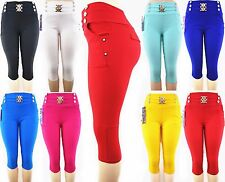 Skinny Colorful Comfy Cotton Jeggings Stretchy Sexy Capri Pants Leggings Pocket