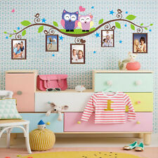 Owls Tree Vine Photo Frame Removable Wall Decor Sticker Decal PVC Mural Home Art