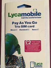 Lyca mobile/Lycamobile UK PLUS Sim Card Cheap International Calls Standard Size