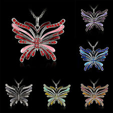 New Fashion Butterfly Necklace Pendant Chain Silver Animal Chain Crystal Jewelry