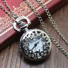 Vintage Silver Hollow Design Mini Pocket Watch Necklace Chain for Women Men Gift