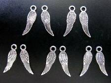 Angel / Fairy Wing - Double Sided Tibetan Silver Charms / Pendants - 17mm x 5mm