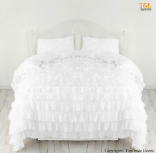 100-Cotton Bedding 1000 TC Waterfal Ruffle Duvet Cover White Solid Set All Size