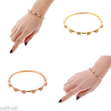 Ladies Bangle Wristband Bracelet Crystal Cuff Bling Zircon Bead 18K Gold Plated