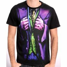 AWESOME DC COMICS BATMAN: THE JOKER FRONT PRINT COSTUME BLACK  T-SHIRT *NEW*