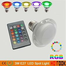NEW 3W E27/GU10 16 Color Changing RGB LED Spotlight Bulb Lamp+ 24 key IR Remote