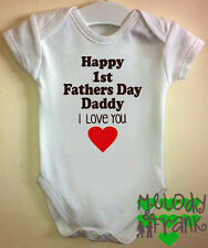 Happy1st Fathers Day Daddy love you Baby Grow body Vest first fathers gift idea