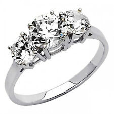 2.5 ct Round cut man made diamond Engagement Ring 14K SOLID White GOLD 3 stones
