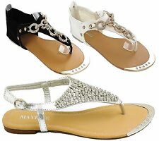 Womens Ladies Crystal Diamante Gladiator Flat Summer Sandals Beach Party Shoes