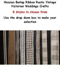 Hessian Burlap Ribbon Rustic Vintage Victorian Weddings Crafts 8 styles