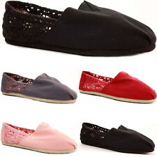 LADIES WOMENS FLAT CASUAL PLIMSOLLS CANVAS ESPADRILLES SHOES PUMPS TRAINERS SIZE