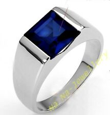 Size 8-12 Brand Mens Jewelry 4ct Square Blue Sapphire Silver Filled Band Ring