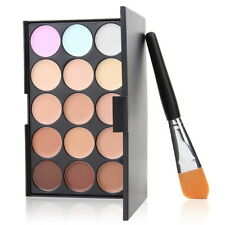 15 Colors Concealer Eyeshadow Contour Palette Brush Sponge Face Makeup Kit Set T