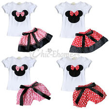 Baby Toddler Kid Girls Minnie Mouse Bow Skirt/Bloomer Shirt/Top Outfit Set 3M-3T