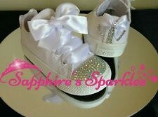 Junior Customised Crystal Bow Mono All White Converse Sizes 11 12 13 1 2