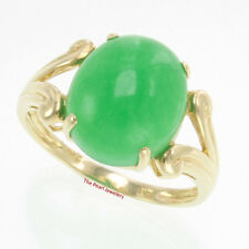 TPJ14k Solid Yellow Gold 12 X 14mm Cabochon Cut Oval Green Jade Solitaire Ring