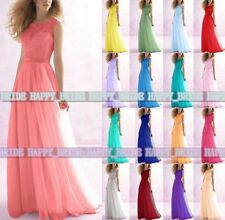 2015 Lace Chiffon Long Formal Evening Party Ball Gown Prom Bridesmaid Dress 6-18