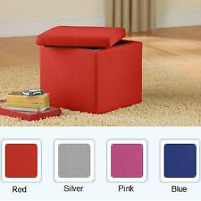 Chair Ottoman Bench Storage Furniture Seat Table Faux Stool Footstool Box Red