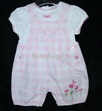 Baby Girls Pink/White 2 Piece Summer Dungaree Set/Outfit 3-6 **SLIGHT DEFECT**