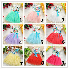 New Toddler Baby Girl Princess Tutu Dress Kids Bow Party Lace Skirt Clothes 1-5T