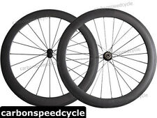 NEW Carbon Road Bicycle Wheel 60mm Clincher/Tubular Powerway R13 Hubs+424 Spokes