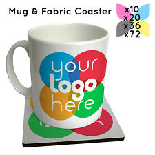 PERSONALISED PROMOTIONAL MUGS + COASTERS BULK PRINTED COMBO DEAL SPECIAL OFFER!