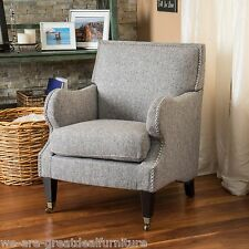 Living Room Furniture Mixed Grey Fabric Padded Club Chair w/ Nailhead Accent