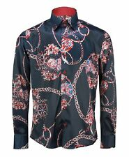 Mens Designer Navy Red Printed Italian Style Smart Casual Slim Fit Shirt