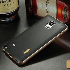 Aluminum Metal Frame+Soft TPU Leather Back Case Cover For Samsung Galaxy Note 4#