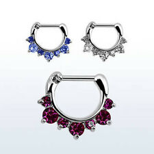 16g (1.2mm) Surgical Steel CZ Colored Cystals Septum Clicker Nose Bull Ring USA