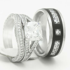 His Hers 3 pcs Womens Engagement Sterling Silver & Mens Wedding Bridal Rings Set