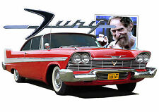 58 PLYMOUTH FURY t-shirt. RETRO. AMERICAN CLASSIC CAR. CHRISTINE.