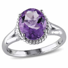 Amour Sterling Silver Amethyst and Created White Sapphire Cocktail Ring