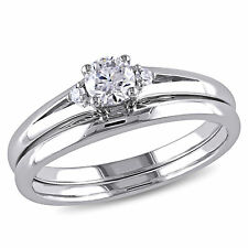 10k White Gold 1/3 Ct TW Diamond Solitaire With Accents Bridal Ring Set H-I