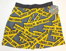 NWT Fun Boxers 'POLICE LINE. DO NOT CROSS' Mens Boxer Shorts S,M,L,XL