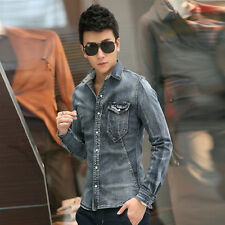 Fashion Men's Sexy Silm Fit Jean Denim Jacket Outwear Long Sleeve Coat hot jeans