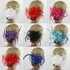 Flower Feather Fascinator Corsage Bridal Wedding Races Hair Clip Accessories