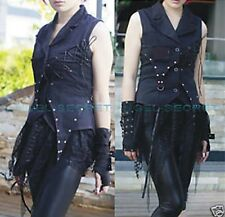 CB3, BLACK LOLITA gothic corset lace up PUNK VEST