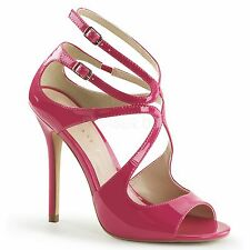 PLEASER High Heels Open Toe Closed Back Strappy Patent Sandals AMUSE-15 Hot Pink