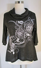 NEW Yummy Plus Shirt Charcoal White Floral Bling Stretchy Top Cowl Neck 1X 2X 3X