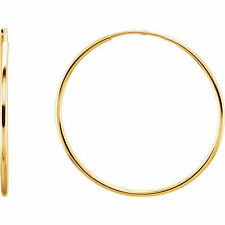 Classic 14kt High Polished 1mm Wide Light Endless Hoop Huggie Earrings, 30mm