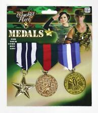 3 Military Medals Army Hero Veteran Star Awards Fancy Dress Party Retro WW1 WW2