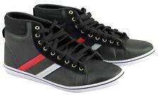 Mens Faux leather High Top Lace Up Black Flat Trainer Shoes